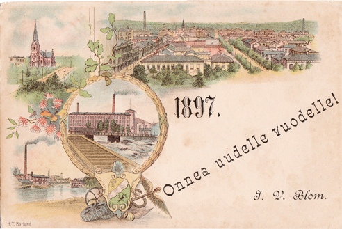Vanha Tampere-postikortti, värillinen sommitelmakortti - Onnea uudelle vuodelle 1897! Johan Viktor Blomin tervehdys Tampereelta Antti Luutoselle Visuvedelle