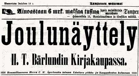 Kirjakauppa H.T. Bärlundin ilmoitus joulunäyttelystä, Tampereen Sanomat nro 145, 14.12.1896
