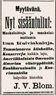 Kauppias J.V. Blomin lehti-ilmoitus, Tampereen Sanomat nro 146, 16.12.1896