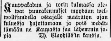 Apteekkari Thomas Clayhillsin ilmoitus Tampereen Sanomissa 28.1.1880