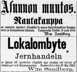 Rautakauppias Wilhelm Sandbergin muuttoilmoitus Tampereen Sanomissa 20.5.1882