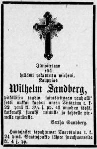 Wilhelm Sandbergin kuolinilmoitus Tampereen Sanomissa 23.3.1887