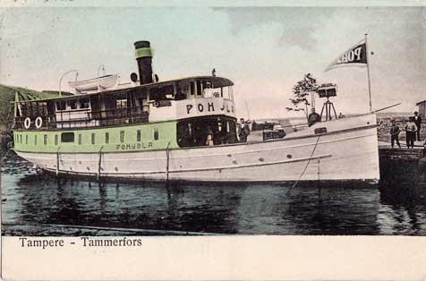 Höyrylaiva Pohjola Mustanlahden satamassa, Kortelahden laiturissa, Tampere-postikortti v. 1907