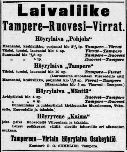Laivaliike Tampere-Ruovesi-Virrat - ilmoitus, Aamulehti nro 131 08.06.1905