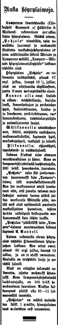 """""""Uusia höyrylaiwoja"""" - uutinen rakennettavasta Pohjola-laivasta Tampereen Konetehtaalla, Aamulehti nro 67, 21.3.1905 - klikkaa kuvaa suuremmaksi"""
