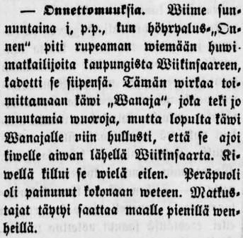 Tampereen Sanomat 29.6.1875, uutinen höyryalus Vanajan karilleajosta Viikinsaaren lähellä