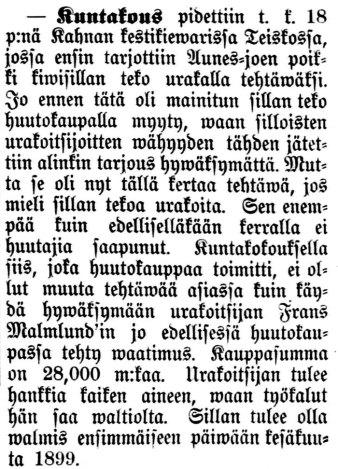 Aamulehti nro 139, 19.6.1898: Teiskon kuntakokous, jossa hyväksyttiin urakkatarjous kivisillan rakentamisesta.