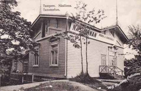 Näsilinnan ruoka ja kahvisalit vuonna 1915 lähetetyssä postikortissa