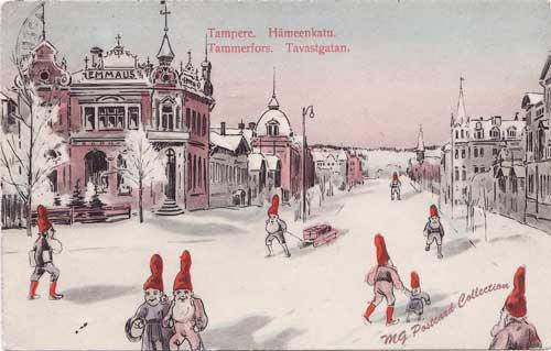 Hospits Emmaus Tampere-aiheisessa tonttupostikortissa