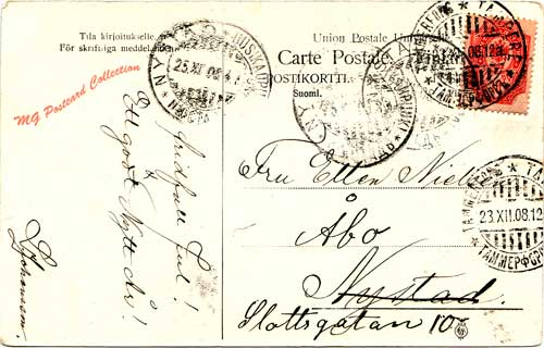 Hospits Emmaus Tampere-aiheisessa tonttupostikortissa, postileimat