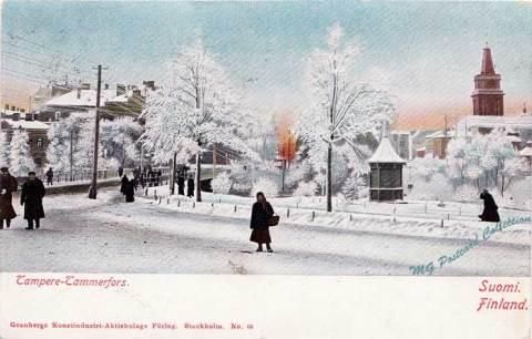 Hämeensilta (Isosilta) ja Koskipuisto Tampereen talvisessa maisemassa