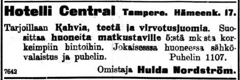 Hotelli Centralin avajaisilmoitus 31.12.1907