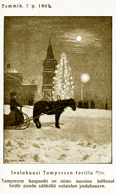 Joulukuusi Tampereen torilla 25.12.1905